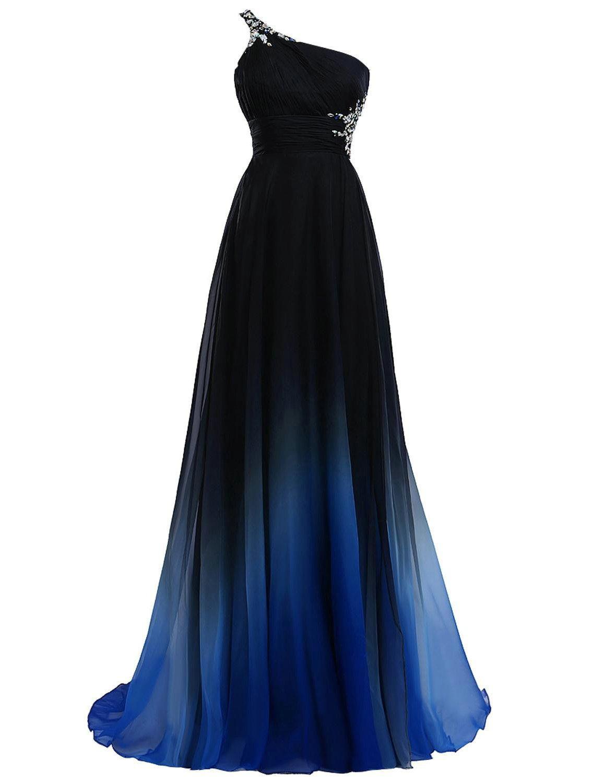 2018 Ombre Gradiant Evening Dresses One Shoulder Chiffon Black Royal Blue Designer Long Cheap Prom Formal Pageant Party Dress