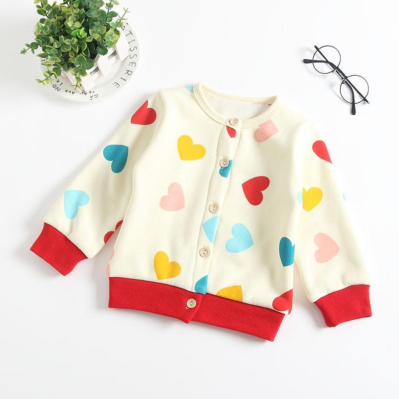 Baby Girl Ropa Abrigo con Velet Girl Primavera otoño Outwear ropa para niños camiseta abrigo primavera otoño amor corazón diseño abrigo