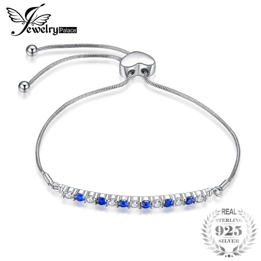 JewelryPalace multicolore creato blu spinello braccialetto regolabile 925 sterling silver regali di vendita caldi per le donne ragazze S18101308