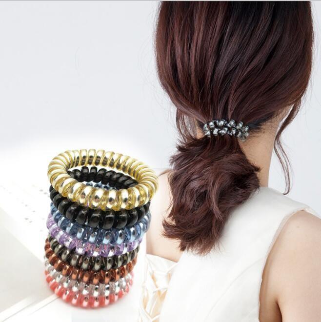 Bandeaux de cordon téléphonique pour femmes Bandes de cheveux élastiques Cordes en caoutchouc Anneau de cheveux Filles 12 STYLES