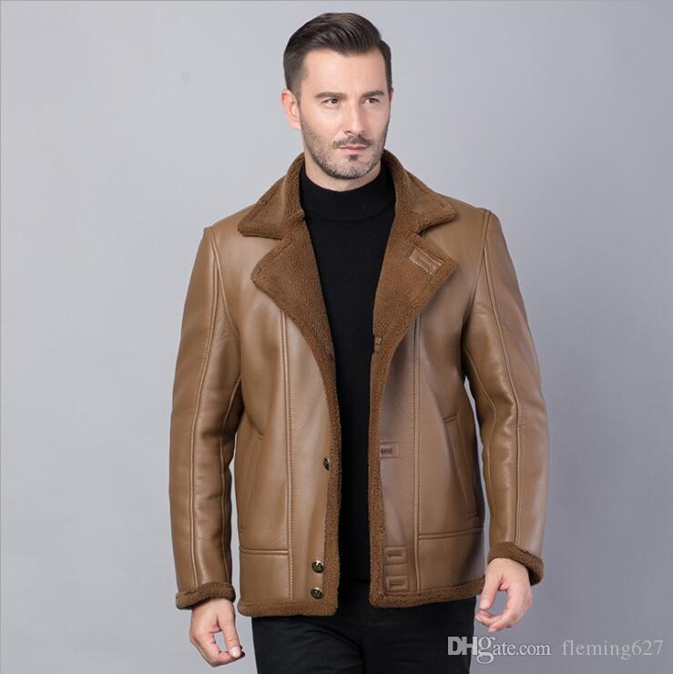 Winter warm motorcycle Leather coat Men's Business Brand Jacket luxury fur sheep leather men's Fur coat Cuero abrigo de piel Leather Jacket