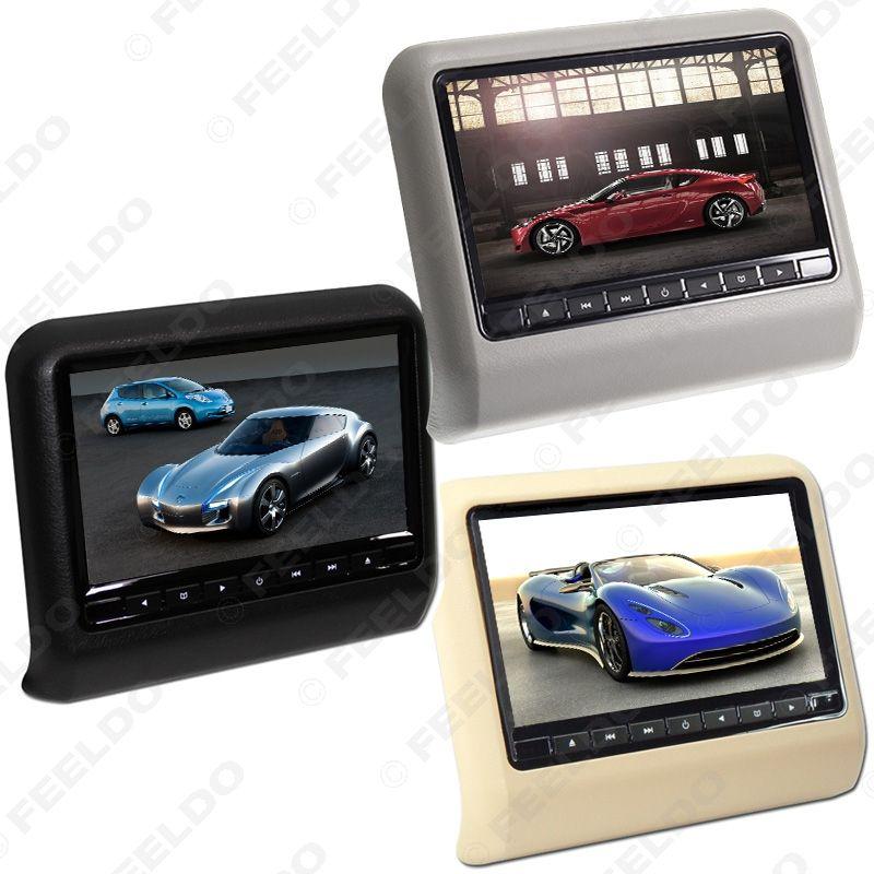 """FEELDO 9"""" Digital HD LCD reposacabezas del coche que cuelga reproductor de DVD con ranura de FM / juego / Remoto / USB / SD 3-Opciones de Color # 3858"""