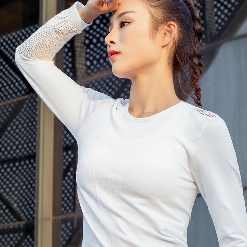 7b8a3bf43e814 2019 Heal Orange Hollow Sexy Mesh Gym Top Women Seamless Long Sleeve Crop  Top Women Clothes 2018 Fitness Workout Crop From Kuyee