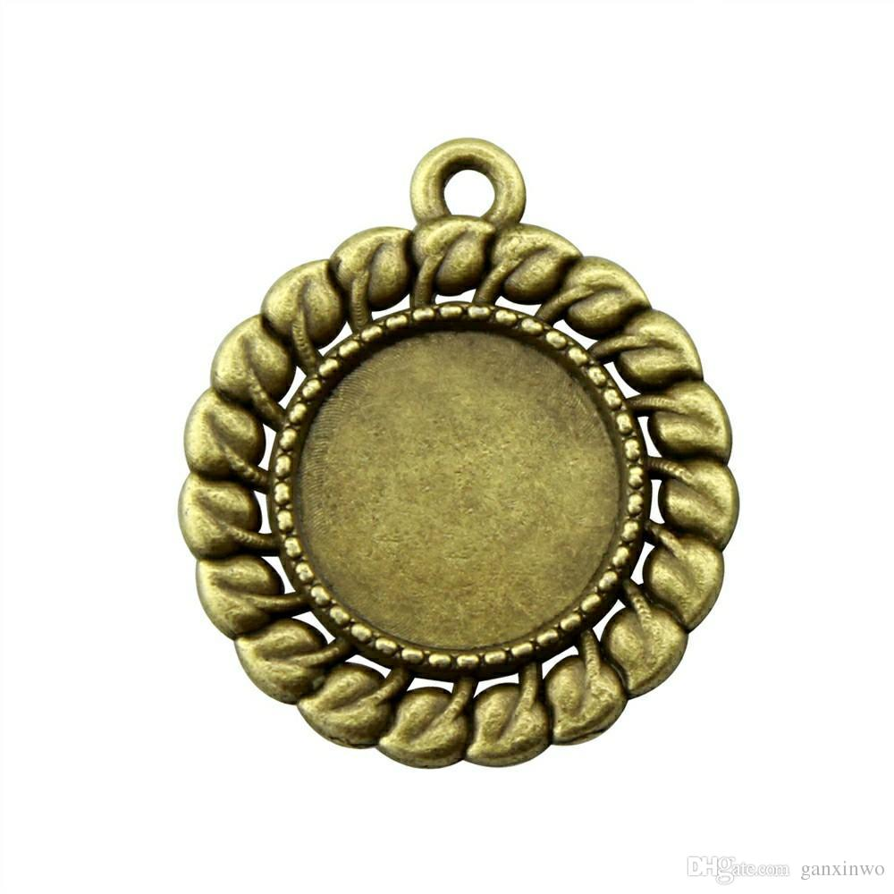 28 Pieces Cabochon Cameo Base Tray Bezel Blank Jewelry Materials Simple Small Grass Inner Size 12mm Round Necklace Pendant Setting