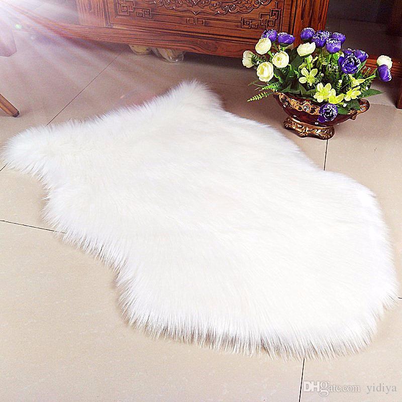 Lujo Faux Soft Artificial de piel de oveja Alfombra Alfombra Alfombra Antideslizante Silla Sofá Cubierta Para el Dormitorio Decoración Textil de Lana Alfombras de piel