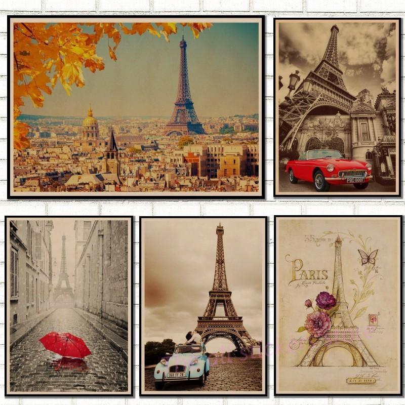 레트로 포스터 프랑스 파리 에펠 탑 포스터 크래프트 종이 빈티지 포스터 벽 장식 거실 카페 카페 장식 / 50052