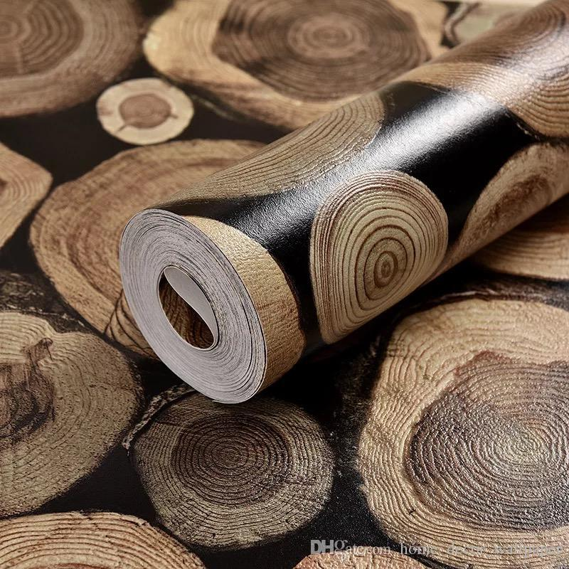 Modern 3D Embossed Flocking Wood Wallpaper Rolls For Bedroom Living Room Home Decoration 3D Wall Paper for sofa background