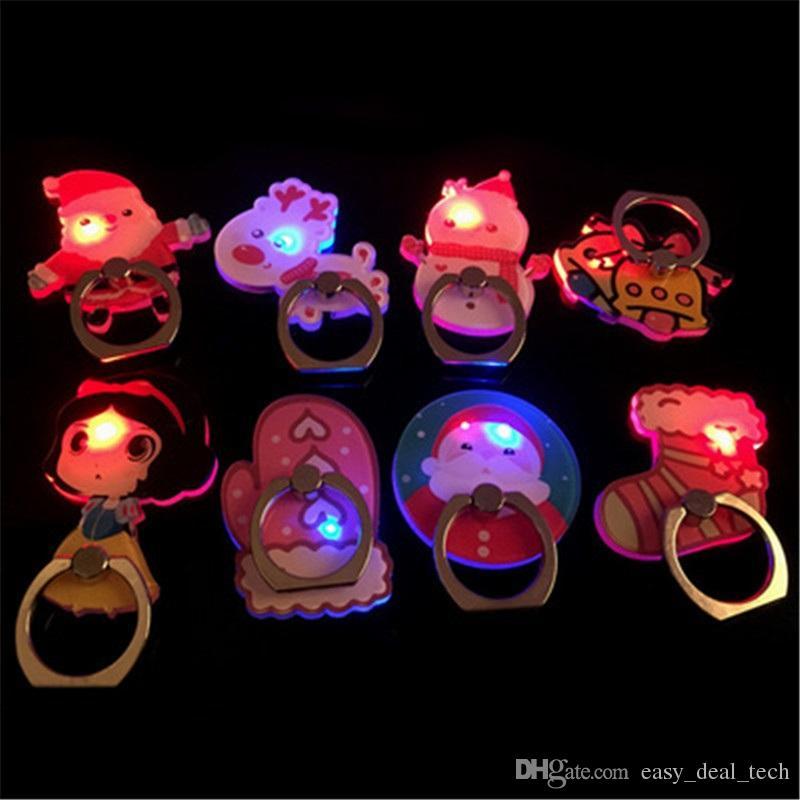 Weihnachtsneuheit Licht LED Blink Telefon Ständer Halter Universal Telefon Halterung 360 Grad Drehbare Mobile Fingerringe H311