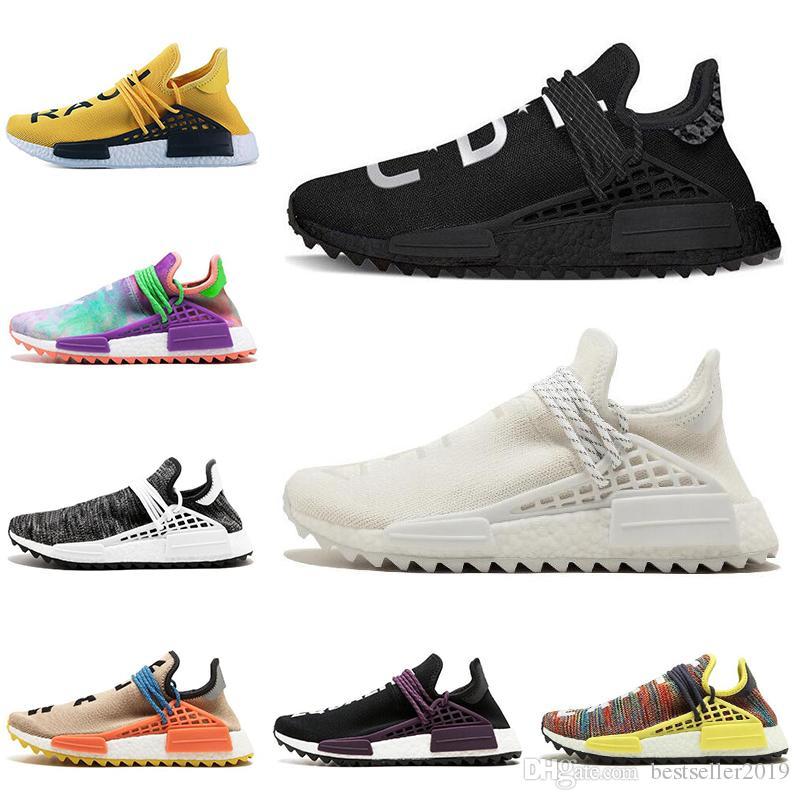 2018 Human Race Running Shoes Pharrell Williams Runner Races Pharell Williams Hu trail Cream Core Black nerd Equality Womens Mens Trainers
