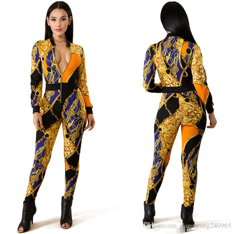 Fashion Print Skinny Jumpsuits Overalls Women Long Sleeve Patchwork Zipper Fake Two Piece Rompers Casual Nightclub Jumpsuits