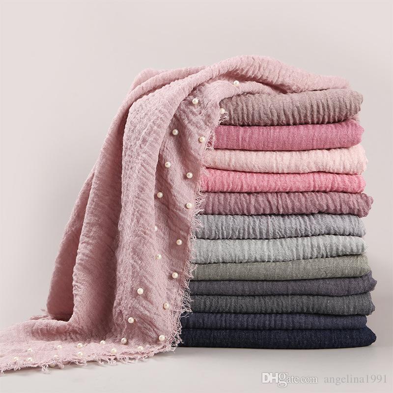 180x100cm Women Wrinkle Crinkle Bubble Plain Cotton Hijab Scarf with White Pearls Fringes Muslim Turban Shawl Pashmina