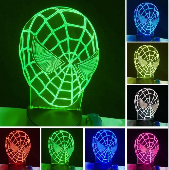 Cool Cartoon Figure Spiderman Mask Face 3D Hero Optical Illusion Mood Light 7 Colors Change Luminaria Lava Lamp Kids Night Light Novelty Gif