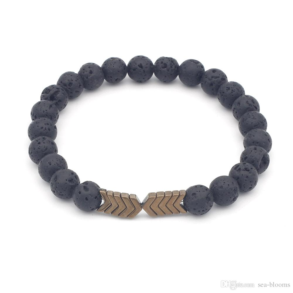 8mm Natural Lava Rock Stone Bead Arrow Diffuser Yoga Beads Elastic Bracelets