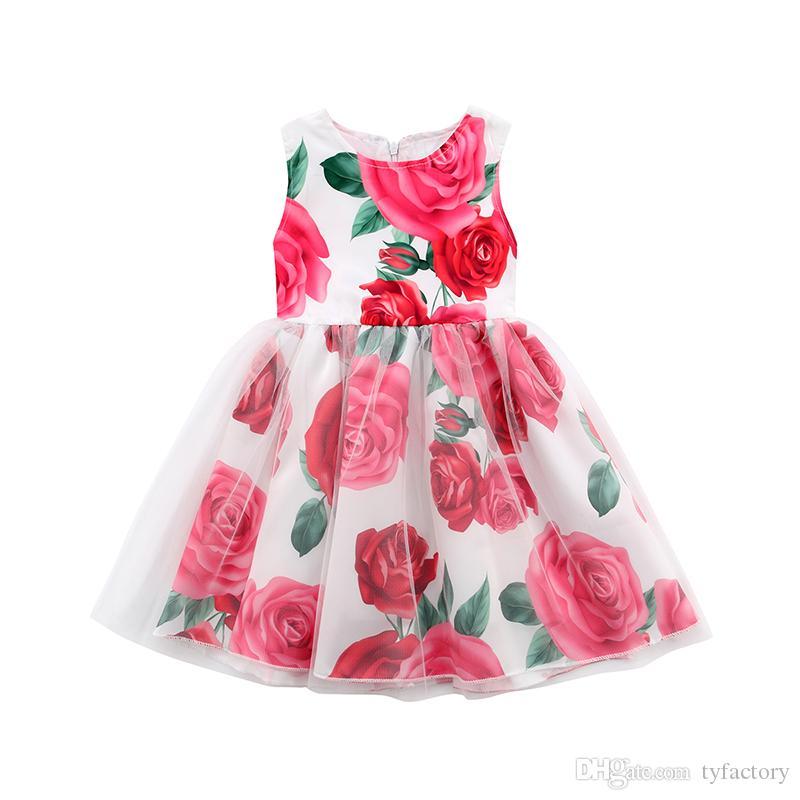 Floral Kids Girls Rose Princess Tutu Dress Flower Vestidos White Layered Tulle Ribbons Sleeveless Dresses Summer Sundress Boutique 1-6Y
