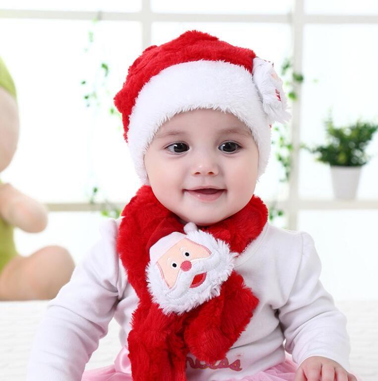 Ins Christmas hat and scraf warrm newborn baby knit Santa hat scarves plush winte rinfant beanie toddler boy girl cap
