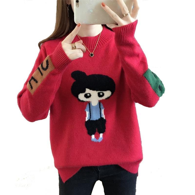 Navidad Suéter Mujer tapas flojas de otoño e invierno de las mujeres coreanas de dibujos animados de moda suéteres del suéter 2018 mujeres Jersey