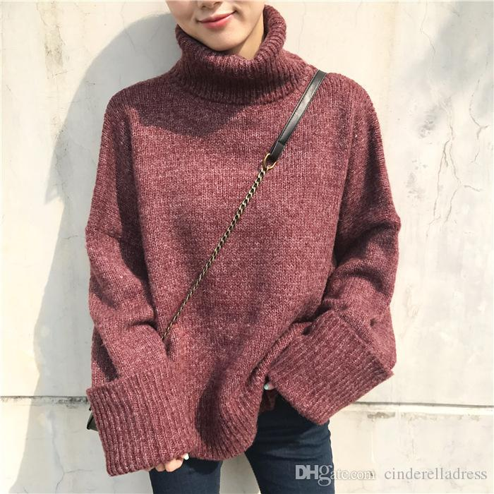 2019 Winter Sweater Women Fashion Casual Solid Turtleneck Sweater Warm  Vintage Loose Long Sleeve Knitted Pullover Sweaters 2019 FS5227 From