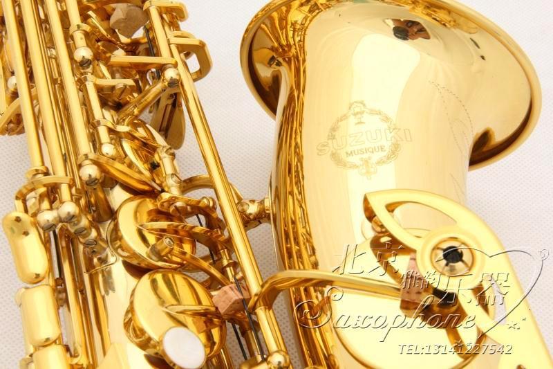 Suzuki A901 professionnel électrophorèse or Saxophone Alto Eb Sax double tendons Top instruments de musique pour les débutants Test