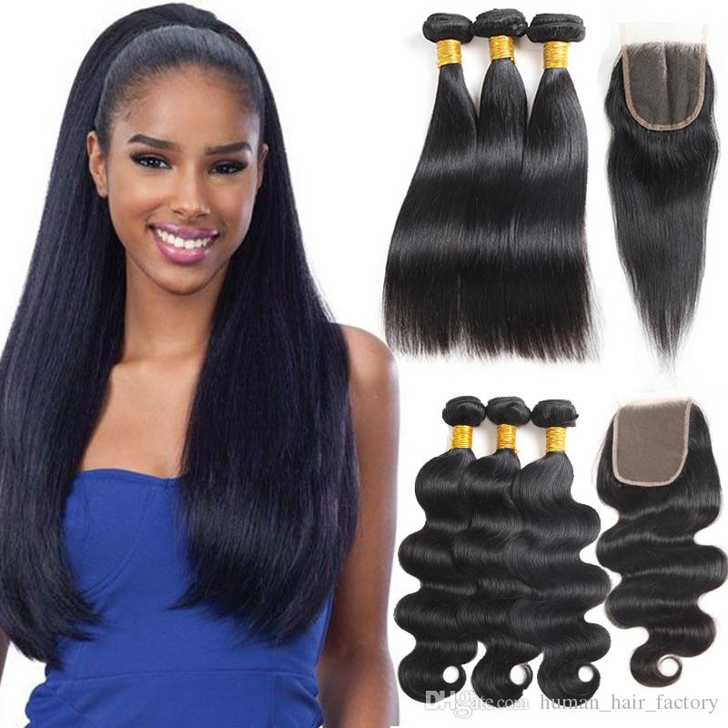 8A 10A Straight Brazilian Virgin Hair with Closure Extensions 3 Bundles Brazilian Body Wave with Frontal Unprocessed Remy Human Hair Weave