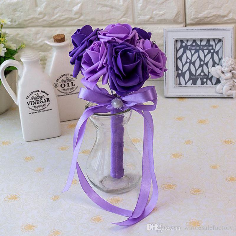 Barato Rose Wedding Ramos de novia hechos a mano flores Artificial Rose Ribbons suministros de la boda Novia Holding Flowers Brooch Bouquet CPA1560