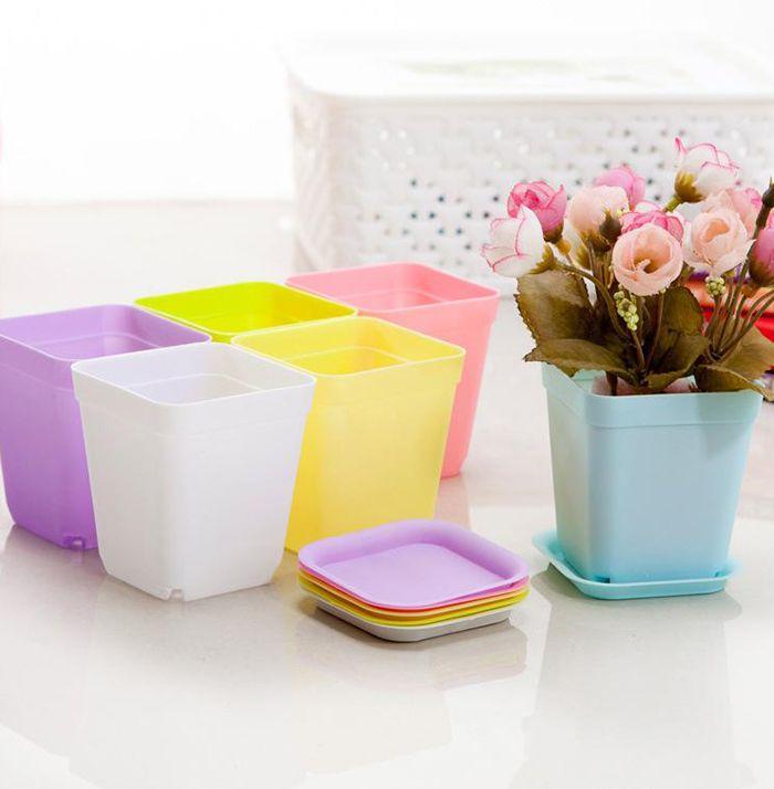 Hot Colorful Bonsai Planters Plastic Table Mini Succulents Plant Pots and Plate Gardening Vase Square Flower Pot