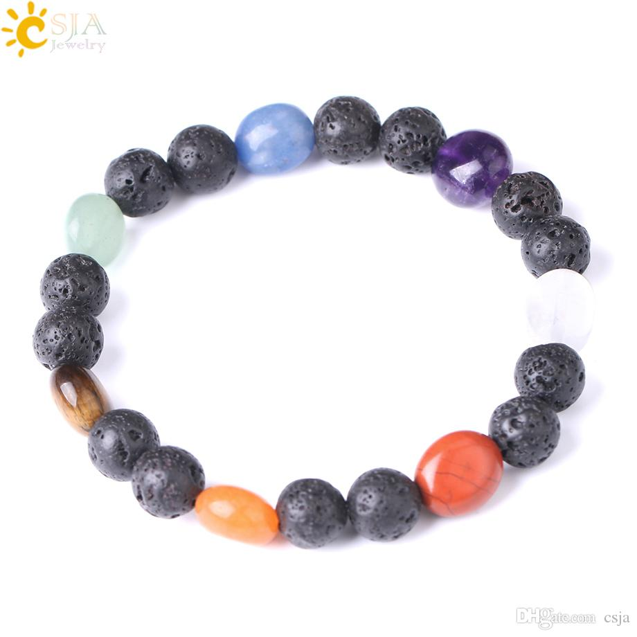 CSJA 7 Chakra Black Lava Rock Natural Volcano Stone Beads Bracelets Bangle for Women Healing Point Meditation Reiki Charms Wristband F286