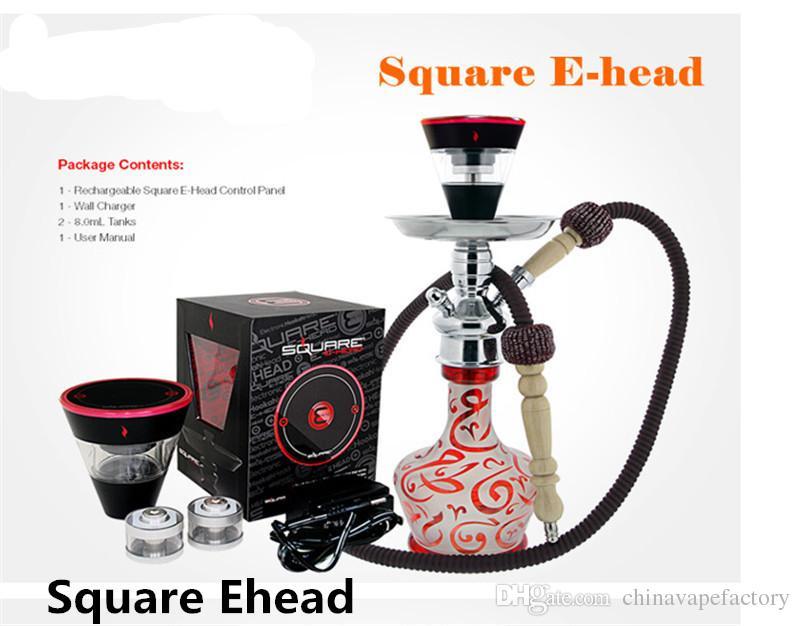 Square e head e hose mini shisha Square Cartridge Refillable ehookah Disposable Hookah 2400MAH Vaporizer E Cigarette Kit
