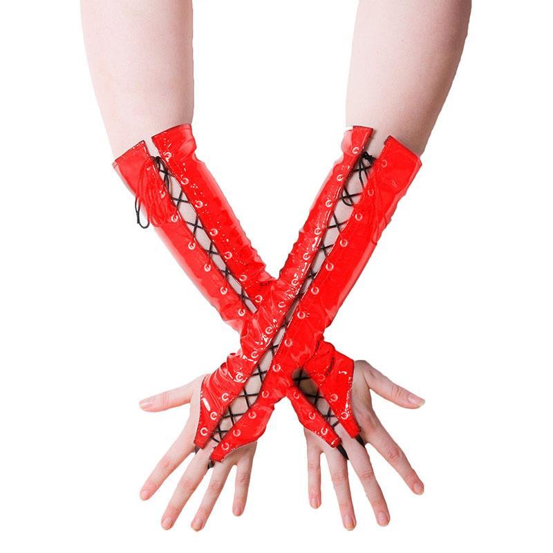 Latex Fingerless Long Gloves Opera Length Fetish Black