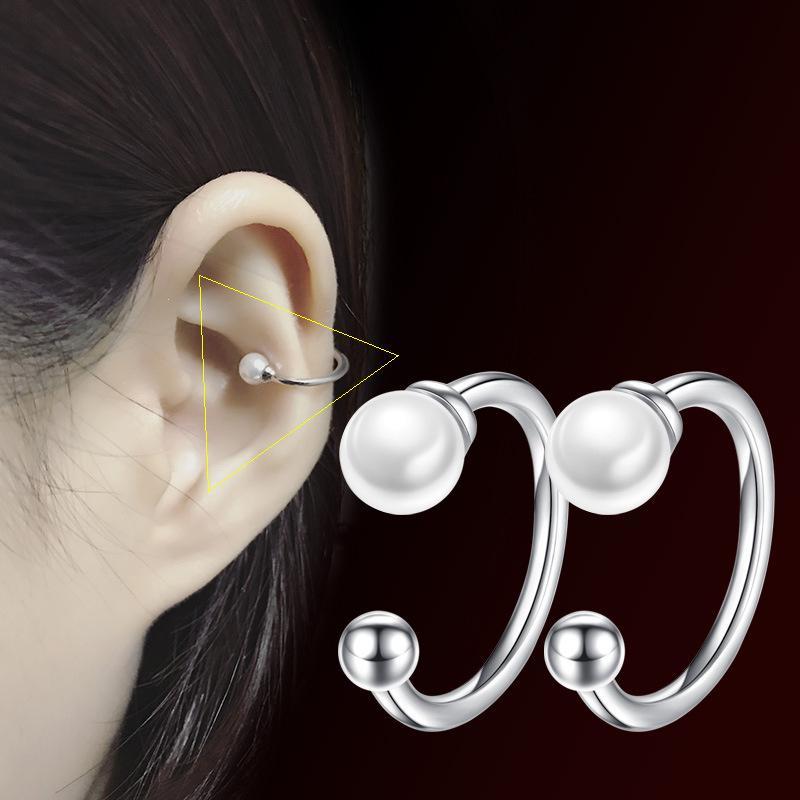 925 Blanco de plata simulado de la perla del clip del oído en los pendientes sin aretes perforación del cartílago del oído de las mujeres blancas de oro chapado WHEK118