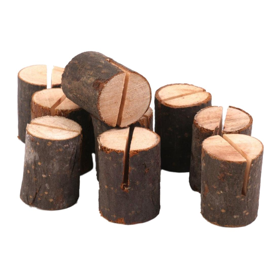 10pcs Wooden Stump Shape Wedding Party Reception Place Card Holder Stand Number Name Table Menu Picture Photo Clip Card Holder