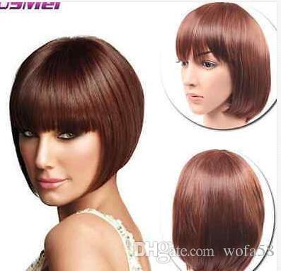 FIXSF68 recto corto marrón señora BOB lolita princess peluca de pelo pelucas para mujeres