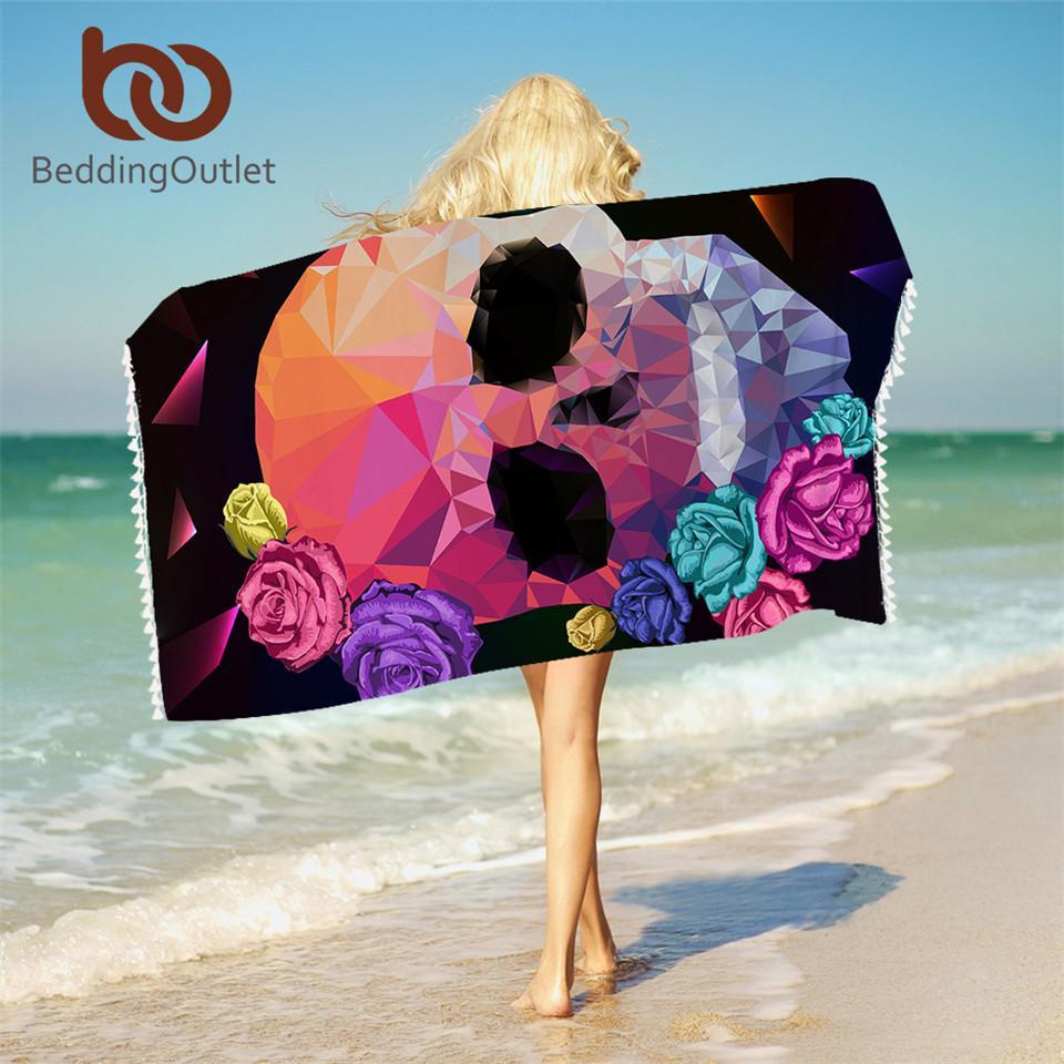 Großhandel geometrische Schädel Badetuch mit Quasten für Badezimmer Microfiber gotischen bunten Strand Handtuch Rose Floral Blanket