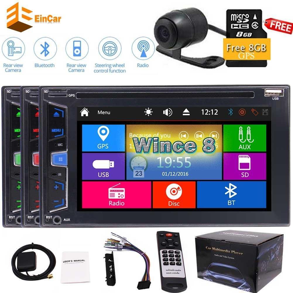 Arka Kamera + Araba GPS Stereo ana ünite Autoradio Bluetooth 1080 p Araba dvd oynatıcı Çift 2Din 6.2 '' Video FM / AM / RDS Radyo Tuner Ses subwoofer