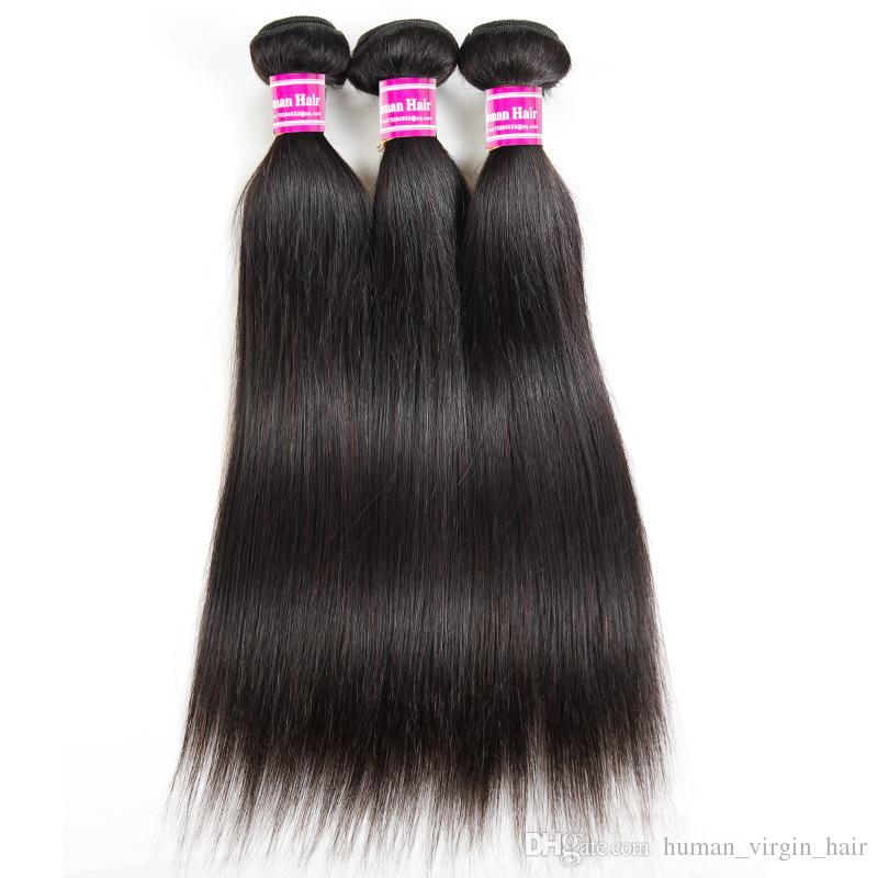 Pas cher Brésilienne Vierge Cheveux Soyeux Droite Armure de Cheveux Bundles 8A Grade Raw Péruvienne Indienne Malaisienne Vierge Cheveux Extensions Trames