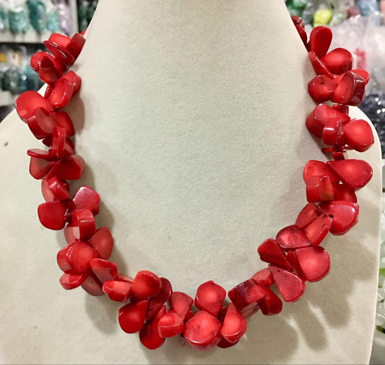 """Natural stone red coral 12x16mm irregular bead necklace chain gemstone 18"""""""