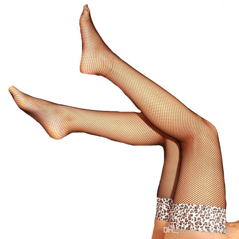 Net Netzstrümpfe Leopard Stocking neue 2018 Plaid Sexy Strümpfe Frauen Oberschenkel hohe Club Dessous Sheer weibliche schwarze Strumpfhosen