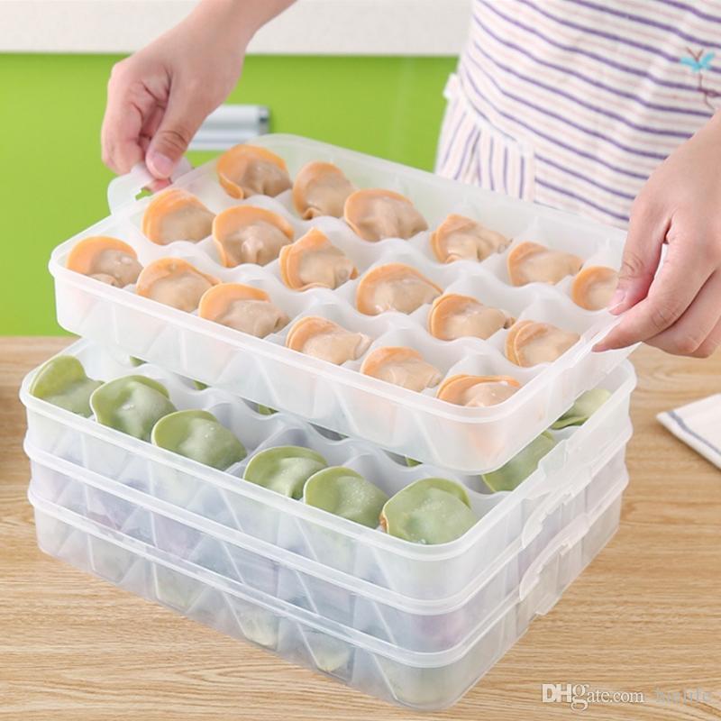 Caixa de bolinhos congelados cozinha geladeira caixa de armazenamento tampa da caixa de treliça caixa de microondas bandeja de aquecimento Cozido bolinhos wonton