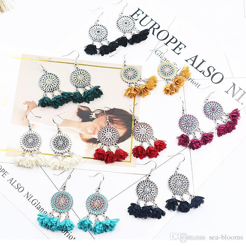 8 Colors Bohemia Cloth Flowers Tassel Drop Earring Punk Ethnic Alloy Petal Dangles Hook Earring Eardrop Jewelry Xmas Gift For Women G963R