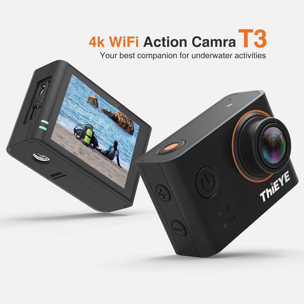 الجملة t3 عمل الكاميرا 4 كيلو / 24 fps 1080 وعاء الترا hd wifi 12 متر بكسل الرياضة كاميرا قابلة للماء الإسكان الذهاب المتطرفة الموالية كام