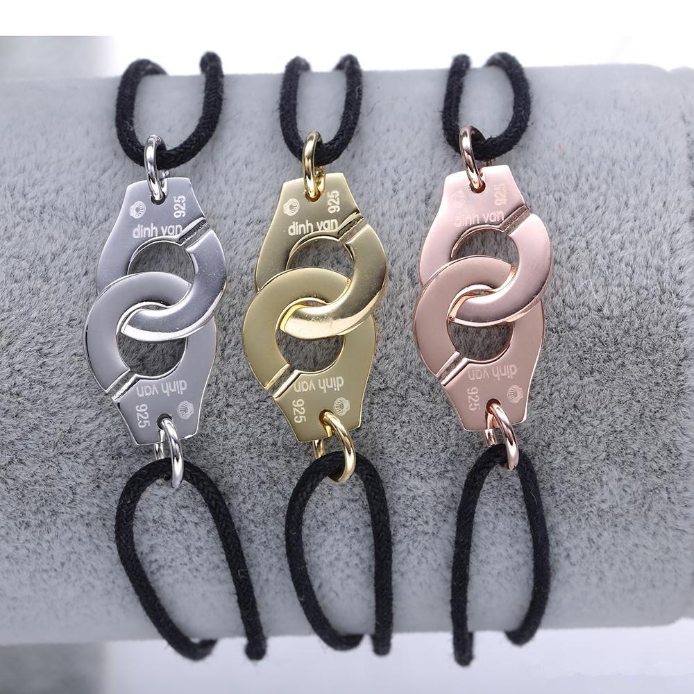 Prix de gros France Célèbre Marque Bijoux Dinh Van Bracelet Pour Femmes Bijoux De Mode 925 Sterling Argent Corde Menottes Bracelet K2332