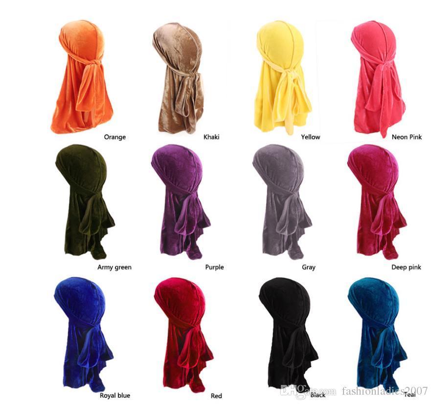جديد الرجال النساء باندانا المخملية العمامة قبعة دوراج الهيب هوب قبعات الحجاب طويل الذيل حك الجمجمة قبعة القراصنة قبعة للرجال والنساء 12 ألوان
