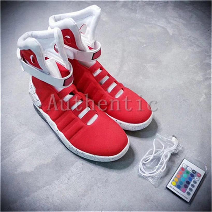 new design release date: performance sportswear Großhandel Air Mag Zurück In Die Zukunft Marty McFly Bunten LED Schuhe  Basketball ShoeMen Luxus Grau Schwarz Rot Limited Edition Casual Sneakers  Mit ...