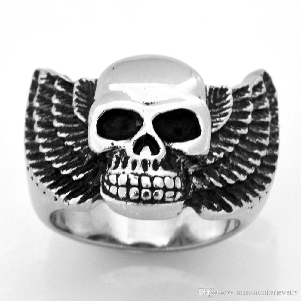 FANSSTEEL STAINLESS STEEL 펑크 빈티지 mens 또는 womens JEWELRY 날개 귀신 두개골 MEDALLION SKELETON GOTHIC BIKER RING FSR09W15