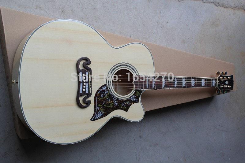 Ücretsiz kargo En kaliteli Katı ladin En J-185EC Akustik Gitar doğal ahşap akustik gitar 151022