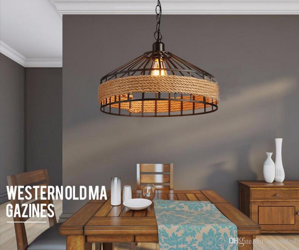 Loft bağbozumu halat kolye Lamba Demir Retro aydınlatma armatürleri Endüstriyel stil vintage edison kolye ışıkları lamparas de techo Restoran bar