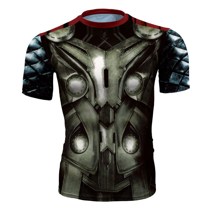 Men's fashion creativity t-shirt superman tights tee superhero Thor sport short sleeves cycling fast dry basketball vest