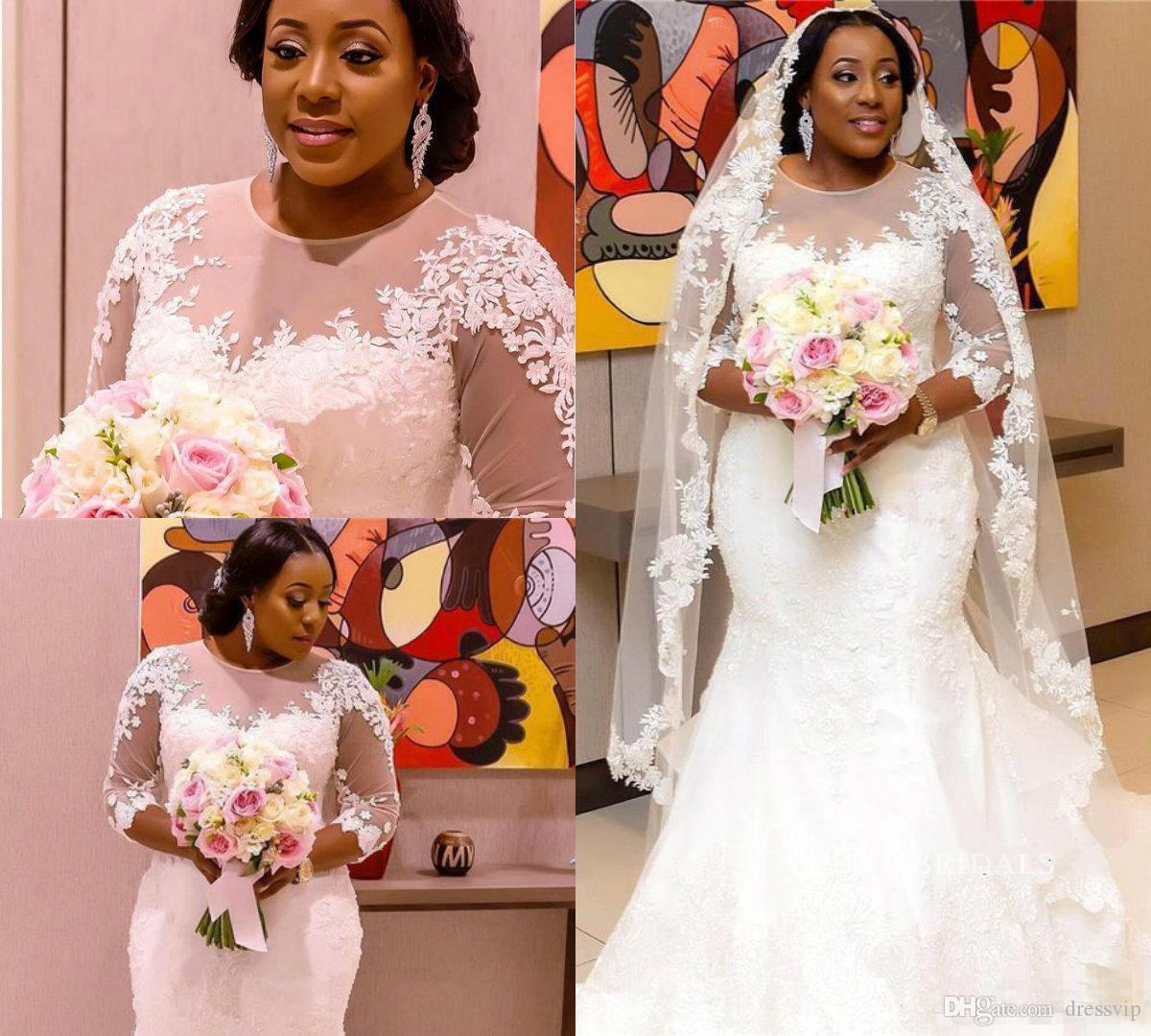 Africano Plus Size Vestidos De Casamento Jewel Pescoço Sweep Train Lace Apliques Sheer Mangas Compridas Sereia Vestidos De Noiva Custom Made Vestido De Noiva