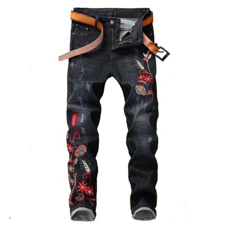 Newsosoo 2018 Casual Men Bordado Hetero Jeans Marca Flower Pattern personalidade masculina moda jeans calças pretas