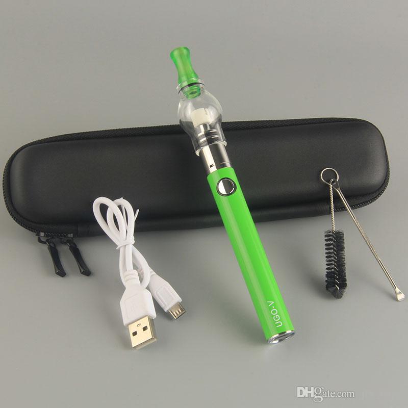 높은 Quanlity Evod Ecigarette ugo v 배터리 키트 왁스 바카 라이저 펜 유리 글로브 탱크 단일 코튼 코일 마이크로 USB buttom 충전 ecigs