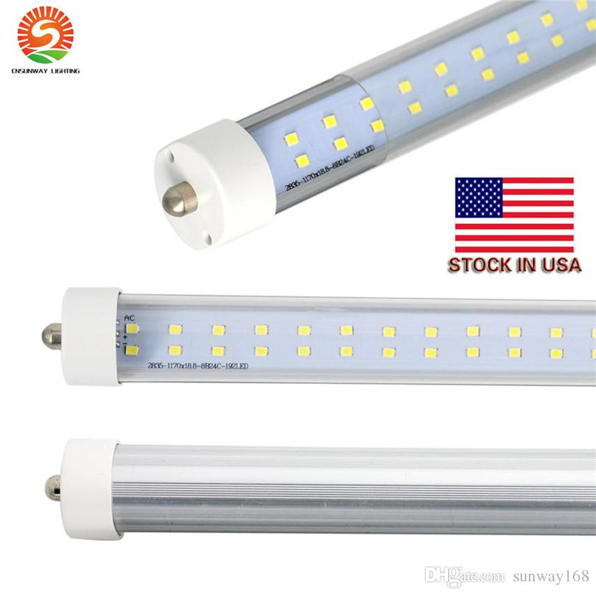 Wholesale! New 576PCS SMD double rows 72w LED tube light FA8 8FT 72W fluorescent lamp T8 tube AC85-305V cold white color clear cover